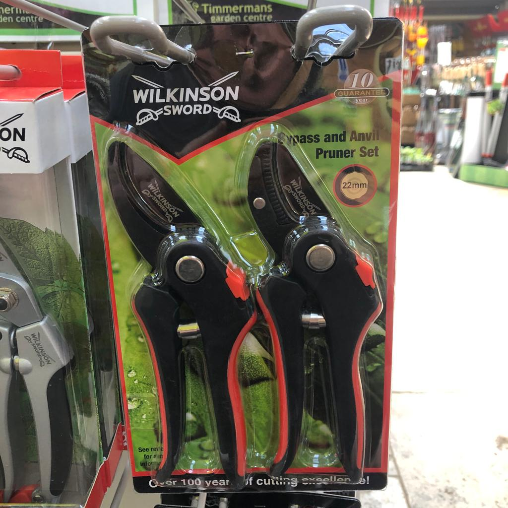 Wilkinson Sword Bypass & Anvil Pruner Secateur Set