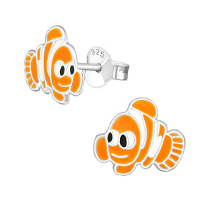 Junior Sterling Silver Nemo Fish Ear Studs with Epoxy Colour