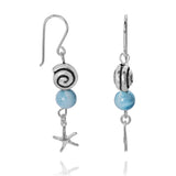 KEW14-LAR Boho Beach Silver Dangling Earrings with Larimar Balls , Star Fish and Seashell Design