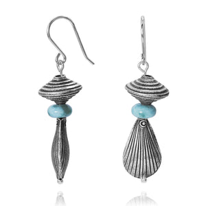 KEW18-LAR- BOHO BEACH SILVER DANGLING EARRINGS WITH LARIMAR ABACUS BEADS , SEASHELL DESIGN