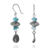 KEW20-LAR -  BOHO BEACH SILVER DANGLING EARRINGS WITH LARIMAR ABACUS AND FREE SHAPE BEADS , FREEDOM  LEAF DESIGN