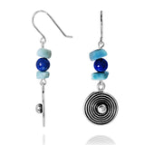 KEW21-LAR Elegant Boho Beach Silver Dangling Earring with Free Shape Larimar and Lapis Balls