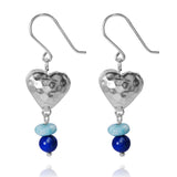 KEW23-LAR -  BOHO BEACH SILVER DANGLING EARRINGS WITH LARIMAR ABACUS BEADS AND LAPIS BALLS , HEART DESIGN.