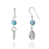 KEW24-LAR -  BOHO BEACH SILVER DANGLING EARRINGS WITH LARIMAR BALLS , SEASHELL DESIGN