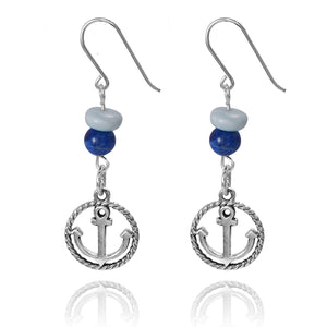 KEW26-LAR BOHO BEACH SILVER DANGLING EARRINGS WITH LARIMAR ABACUS BEADS AND LAPIS BALLS , ANCHOR DESIGN
