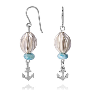 KEW27-LAR  BOHO BEACH SILVER DANGLING EARRINGS WITH LARIMAR ABACUS BEADS , ANCHOR DESIGN
