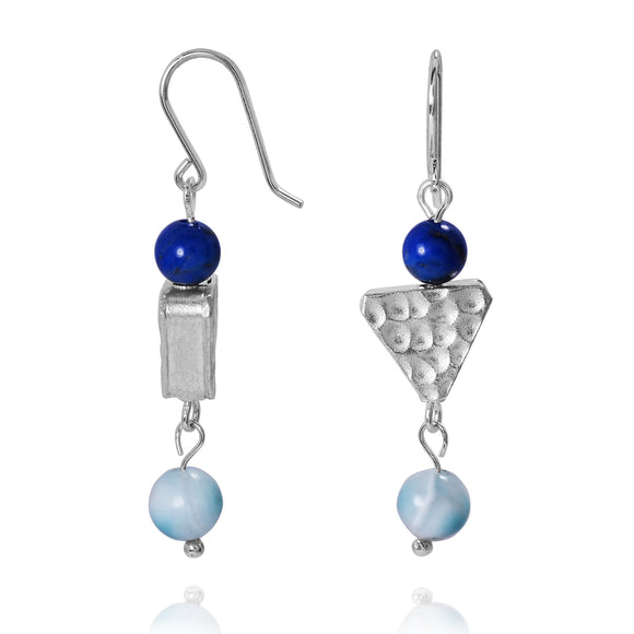 KEW28-LAR -  BOHO BEACH SILVER DANGLING EARRINGS WITH LARIMAR AND LAPIS BALLS , TRIANGLE CORAL DESIGN