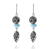 KEW29-LAR -  BOHO BEACH SILVER DANGLING EARRINGS WITH LARIMAR ABACUS , BOHO BALL AND LEAF DESIGN