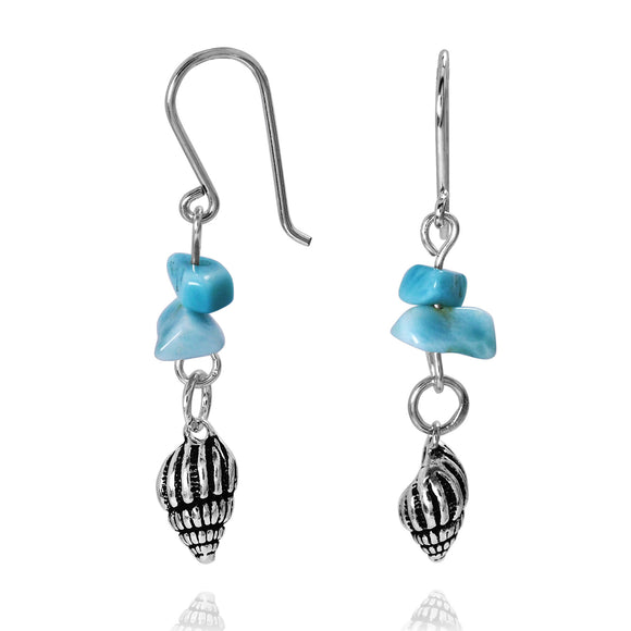 KEW30-LAR -  BOHO BEACH SILVER DANGLING EARRINGS WITH LARIMAR FREE SHAPE PIECES , SEASHELL DESIGN