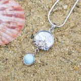 Sterling Silver Sea Turtle Pendand with Larimar, Mother of Pearl and Blue Topaz - Sea Life Jewelry - Nautical Themed - Inspired by Ocean - Handmade