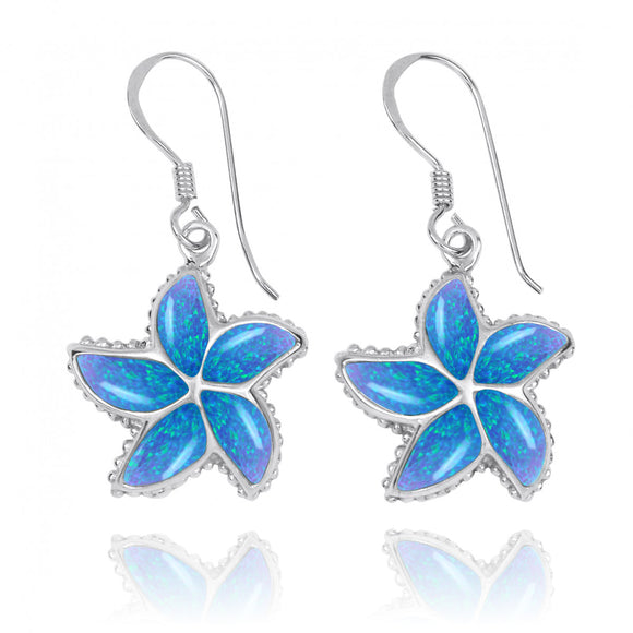 Sterling Silver Star Fish Earrings with Simulated Blue Opal - Sea Life Jewelry - Nautical Themed