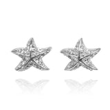 Sterling Silver Starfish Stud Earrings with White Topaz - Beach Sea Life Jewelry - Inspired by Ocean - Nautical - Handmade