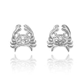 Sterling Silver Crab Stud Earrings with White Topaz - Beach Sea Life Jewelry - Inspired by Ocean - Nautical - Handmade