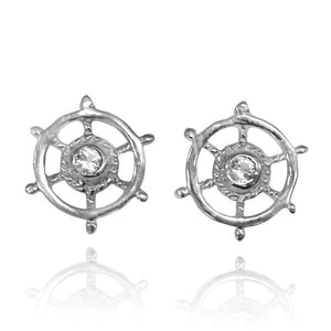Sterling Silver Ship's Wheel Stud Earrings with White Topaz - Beach Sea Life Jewelry - Inspired By Ocean - Nautical Themed - Handamde