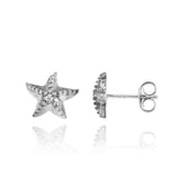 Elegant Sterling Silver Star Fish Stud Earrings - Beach Sea Life Jewelry - Inspired by Ocean - Handmade