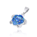 Sterling Silver Turtle with Simulated Blue Opal Pendant - Beach Sea Life Jewelry - Inspired by Ocean - Handmade - Nautical