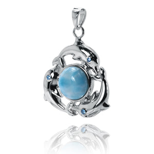 Sterling Silver Pendant with 3 Dolphins Surrounding a Larimar Gemstone Ball - Beach Sea Life Jewelry - Inspired by Ocean - Handmade