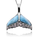 Sterling Silver Whale Tail Pendant with Larimar and White CZ - Beach Sea Life Jewelry - Inspired by Ocean -Handmade