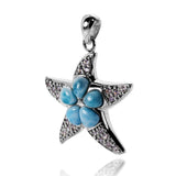 Sterling Silver Star Fish Pendant with Larimar Gemstome - Beach Sea Life Jewelry - Inspired by Ocean - Handmade