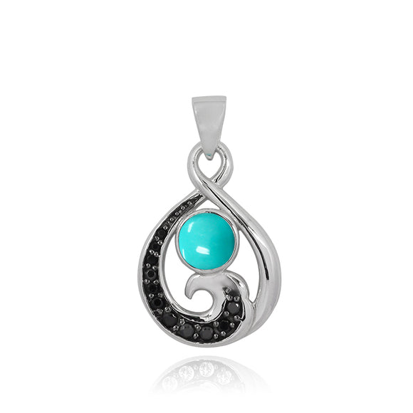 Sterling Silver Pendant with Black Spinel Wave and Round Compessed Turquoise and Black Spinel - Beach Sea Life Jewelry - Inspired by Ocean - Handmade
