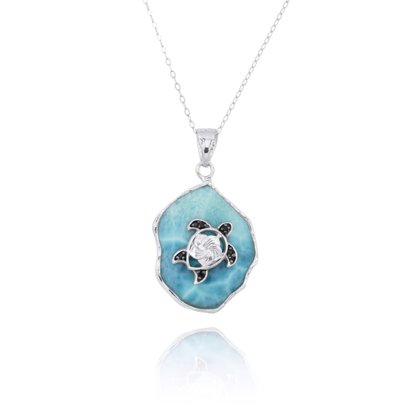 Larimar Pendant with Sterling Silver Turtle and Black Spinel - Beach Sea Life Jewelry - Inspired by Ocean - Handmade - Nautical