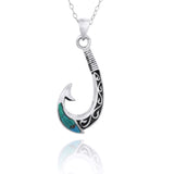 Maori Fishhook Pendant with Compressed Turquoise - Nautical Jewelry - Beach Sea Life Theme - Inspired by Ocean - Handmade