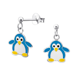 Junior Sterling Silver Ball Ear Studs with Hanging Penguin - Epoxy