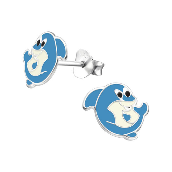 Junior Sterling Silver Blue Shark Ear Studs - Epoxy