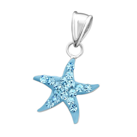 Junior Sterling  Silver StarFish Pendant with Crystal