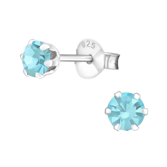 Sterling Silver Round 4mm Ear Studs with Crystals
