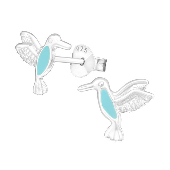 Junior Sterling Silver Seagull Bird Ear Studs - Epoxy