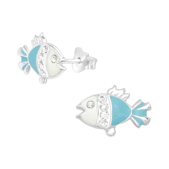 Junior Sterling Silver Fish Ear Studs with Crystal and Epoxy