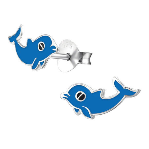 Junior Sterling Silver Dolphin Ear Studs - Epoxy