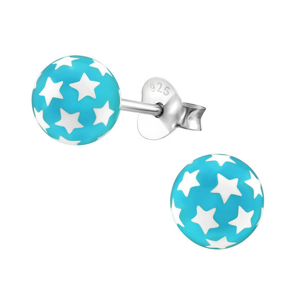 Junior Sterling Silver Beach Ball Ear Studs