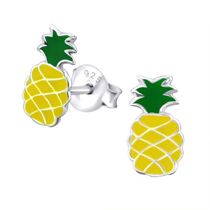 Junior Sterling Silver Pineapple Ear Studs - Epoxy
