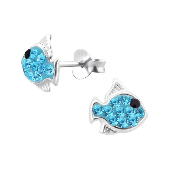 Junior Sterling Silver Fish Ear Studs with Crystal