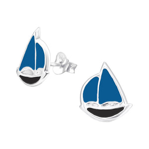 Junior Sterling  Silver Sailboat Ear Studs - Epoxy