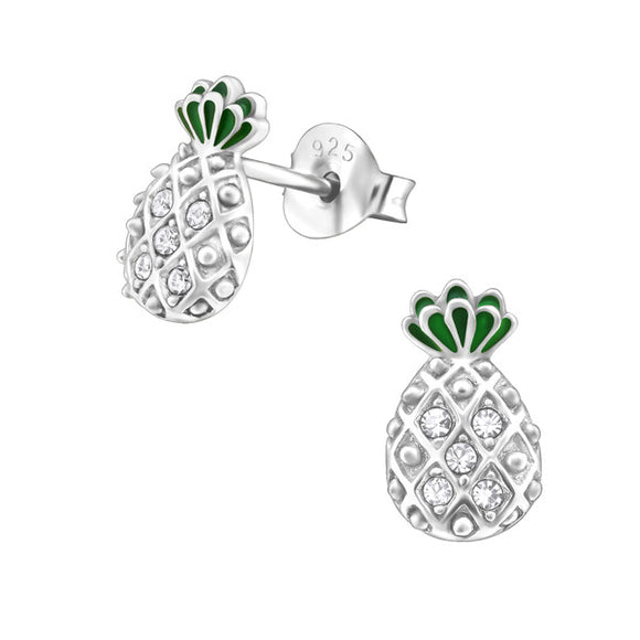 Sterling Silver Pineapple Ear Studs with Crystal and Epoxy
