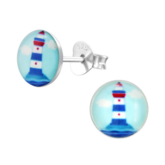 Junior Sterling Silver Lighthouse Ear Studs
