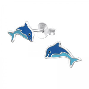 Junior Sterling Silver Dolphin Ear Studs with Epoxy