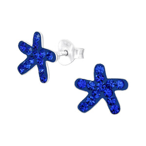 Junior Sterling Silver Starfish Ear Studs with Crystal