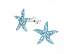 Junior Sterling Silver Starfish Ear Studs with Swarovski® Crystals