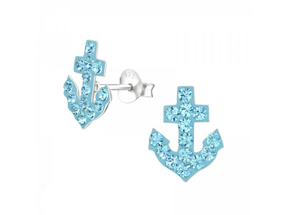 Junior Sterling Silver Anchor Ear Studs with Swarovski® Crystals