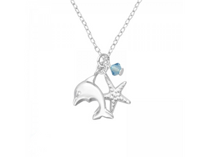 Junior Sterling Silver Ocean Lovers Necklace with Swarovski® Crystal