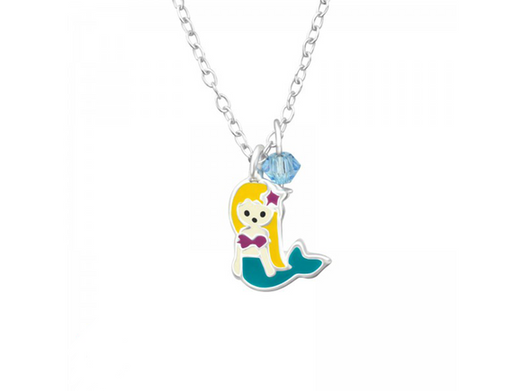 Junior Sterling Silver Mermaid Necklace with Epoxy and Swarovski® Crystal