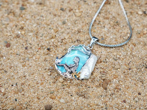 The Sitting Mermaid - A one of a kind designer piece - Larimar and fresh water pearl - Sterling silver and Gold plating 14k