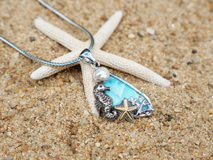 Sea Horse and starfish One of a kind Larimar and Pearl Pendant - Sterling silver and 14k Gold plating - Designer piece