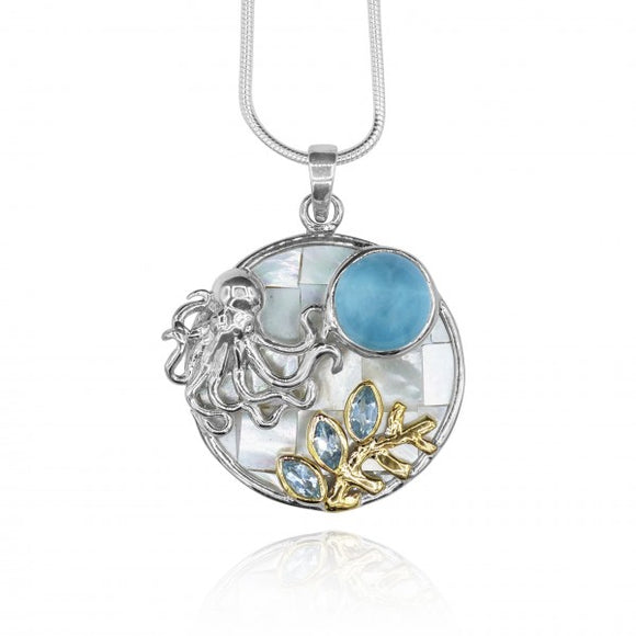 [KPG11-LAR] Round Larimar , with blue topaz , octapus .round mother of pearl pendant