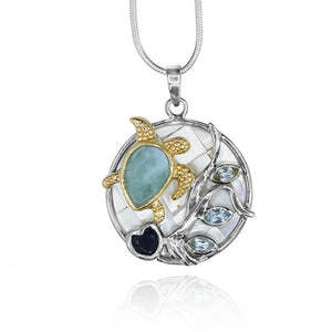 [KPG14-LAR-LAP] Pear shape Larimar stone , Lapis Lazuli , sky Blue Topaz ,sea turtle , mother of pearl pendant