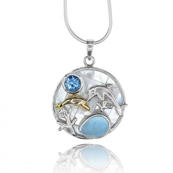 [KPG15-LAR] Pear shape Larimar stone , Swiss blue topaz , Dolphin couple , mother of pearl pendant
